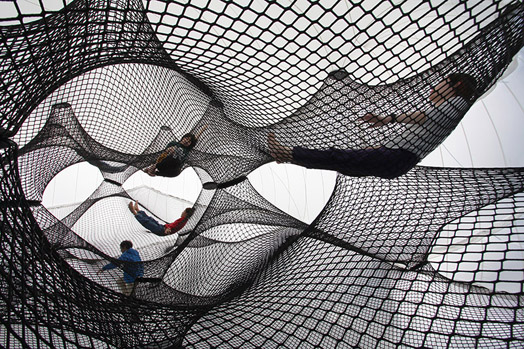 "Imagine a design minimalist to the level of being absent; yet, attaining ingratiating presence by rejecting to be ordinary. ""Net Blow-up"" accomplishes this, revealing the pre-existing potential of a material through geometricism."