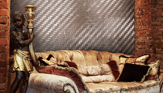 Neelnox creates a textual masterpiece - stainless steel wall tiles or mosaics.