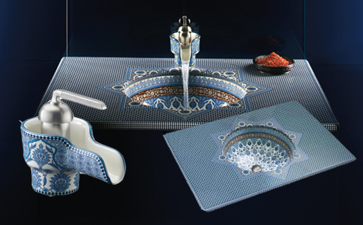 "Kohler Co presents, a vitreous countertop and faucet inspired from the Moroccan art and cultural backdrop -  the ""Marrakesh""."