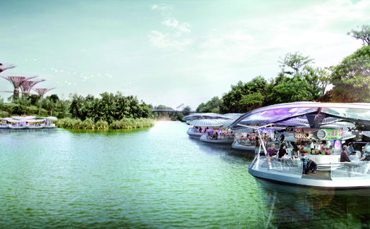 Singapore's floating hawker pods by SPARK Architects