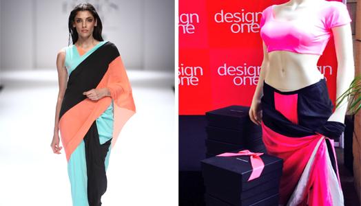 Fashion designers, Shivan & Narresh's destination sari and mastectomy blouse.