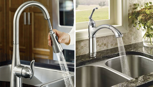 "Moen ""Pulldown and Pullout"" faucet."