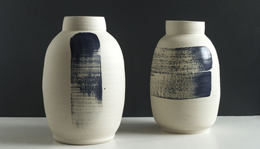 India Art n Design features Pascale Girardin's Cobalt Ceramic Vases