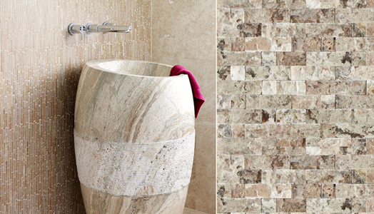 Picasso-honed filled split-face Cosmo Basin Travertine from Mandarin Stone