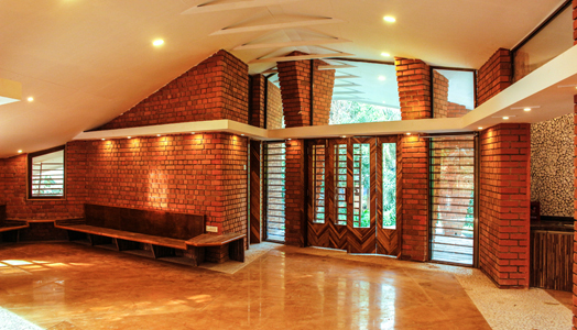 brick walls and wood panelling on doors