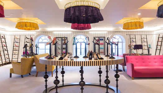 Manolo Blahnik Shoe store follows European Art Nouveau domestic salon ambience at Harrods