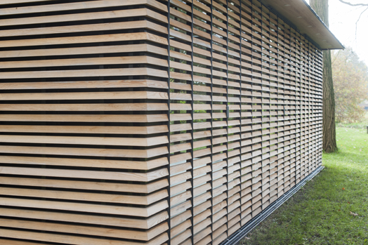 completely closed louvered facade