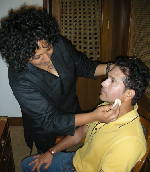 Ambika Pillai with Sachin Tendulkar