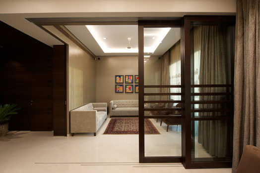 wood and glass sliding partition