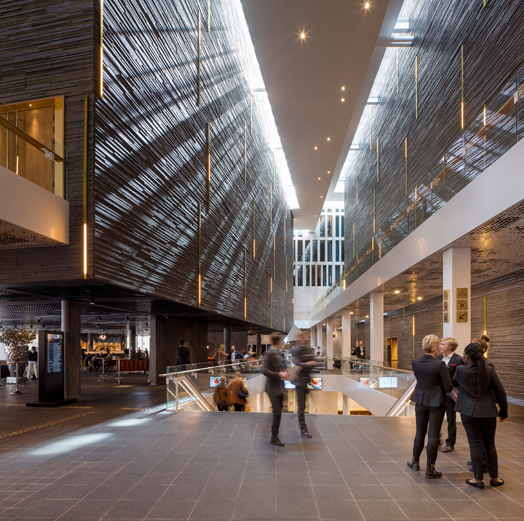 lobby area of new concert hall at Malmo, Sweden
