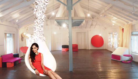 Lekha Washington with her furniture collection