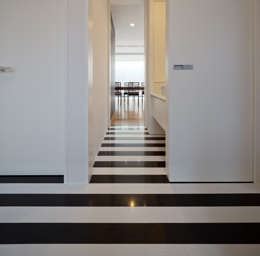 black and white striated flooring