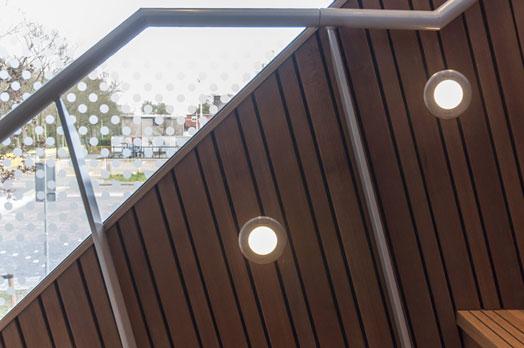 Vertical polycarbonate panels as facade