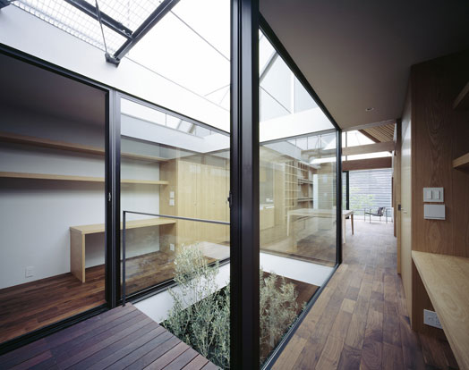 glass walled internal courtyard