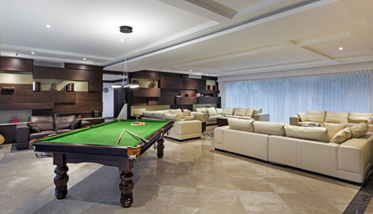 luxurious living room with pool table