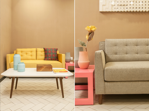 dual seating in pastel hues