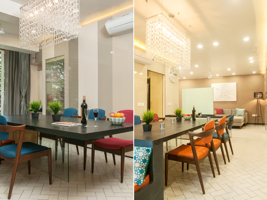 dining area with vibrantly upholstered chairs