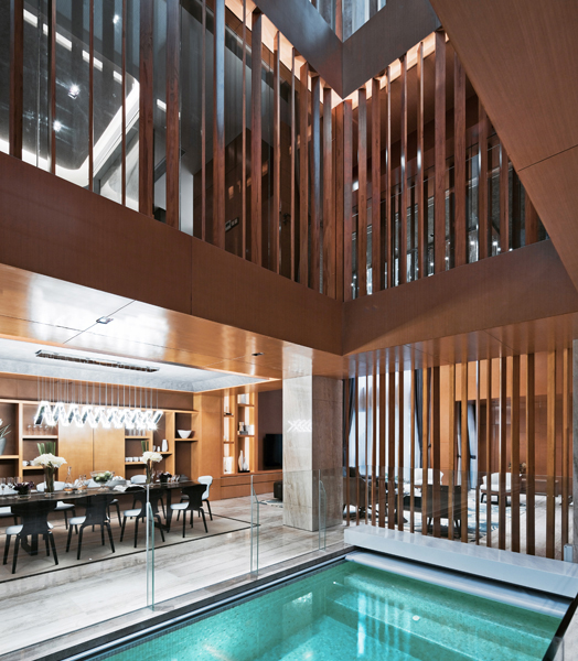 indoor swimming pool as focus in atrium