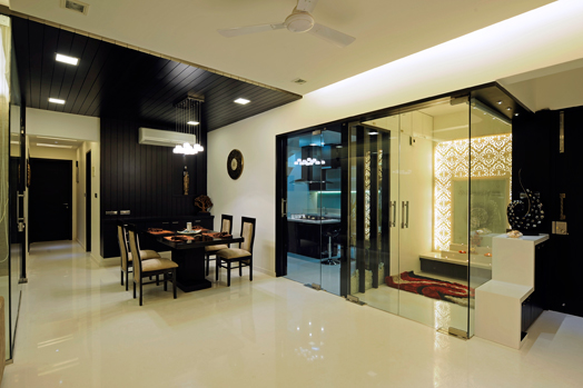 pooja room part of large seamless living area