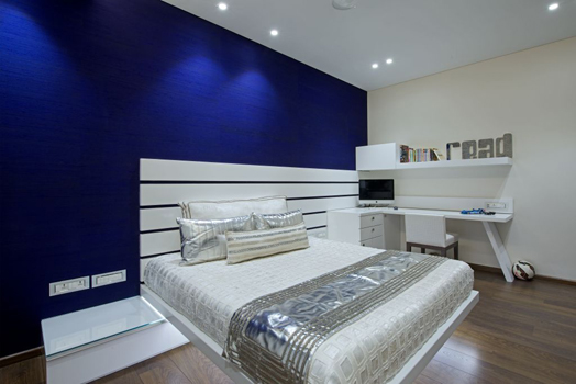 blue and silver bedroom