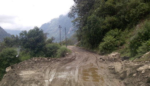 beautiful mountain road in rains