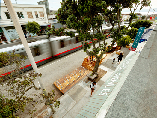 overhead view of street furniture