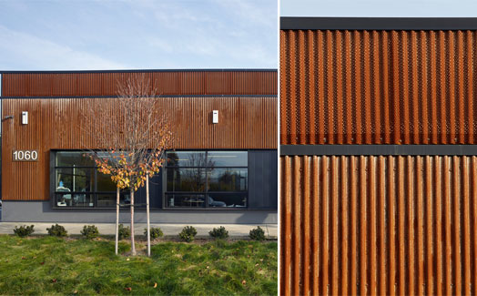 corrugated steel cladding on the building