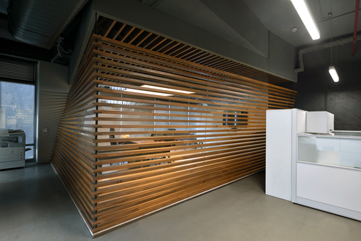 wooden slats provide privacy and transparency at the same time