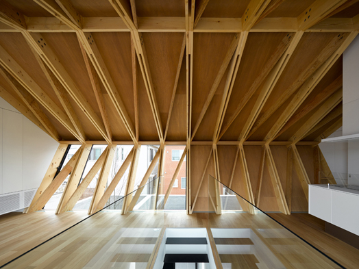 repetitive triangular structures composed of SPF timber and laminated veneer lumber