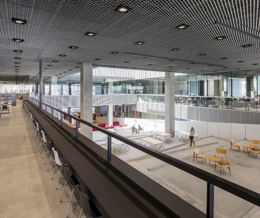 spacious interiors at dokk1 in Denmark - polygonal library buliding