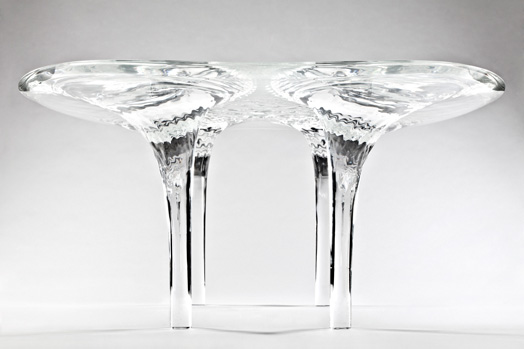 table by zaha hadid - liquid glacial collection