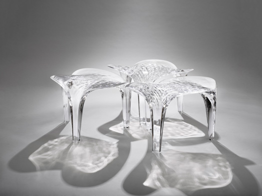 stools by zaha hadid - liquid glacial collection