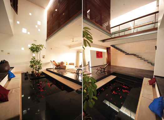 living room with water body