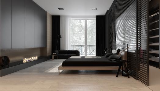 monochrome colour palette in bedroom