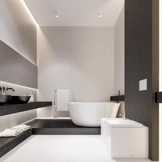monochrome colour palette in bathroom