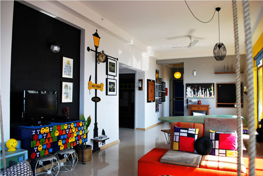 living room in vibrant hues