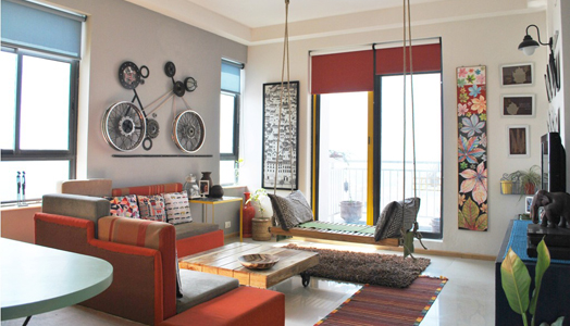 living room with cycle mural