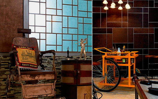 kitsch elements and industrial-finish furniture