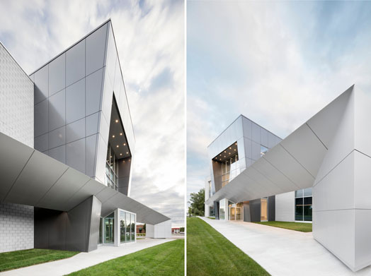 sharp angles in the aluminium clad exterior