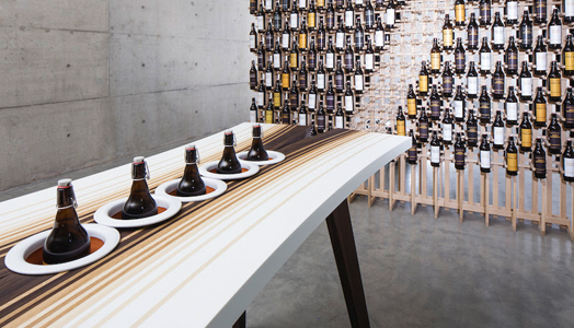organically design craft beer tasting table