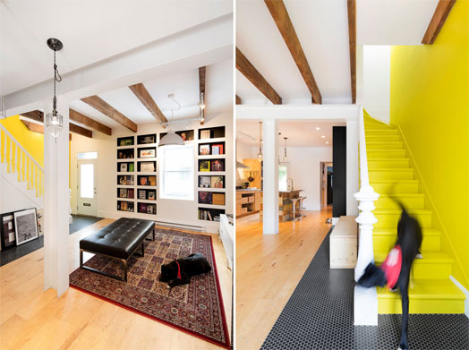 wooden rafters in ceiling