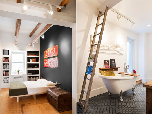 sustainably restored bedroom and bathroom