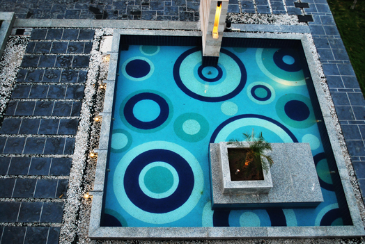 blue mosaic pattern in pool - - landscape design