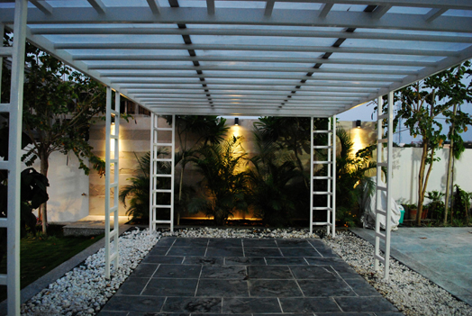 pergola in landscape design of residence