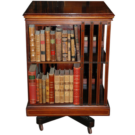 antique Edwardian revolving bookshelf