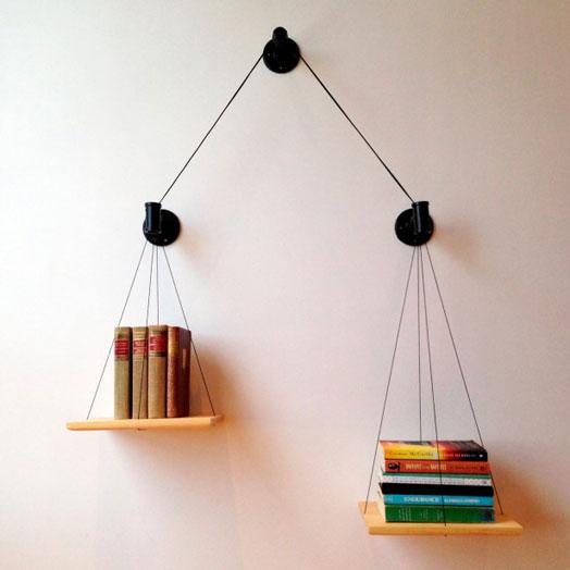 wall-mounted unusual bookshelves