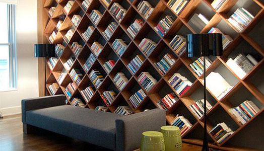 entire wall book storage