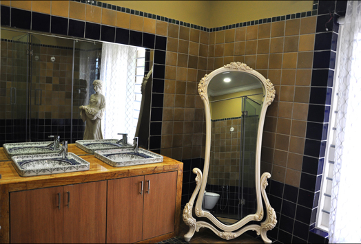 classic-contemporary bathroom with ornate mirror frame