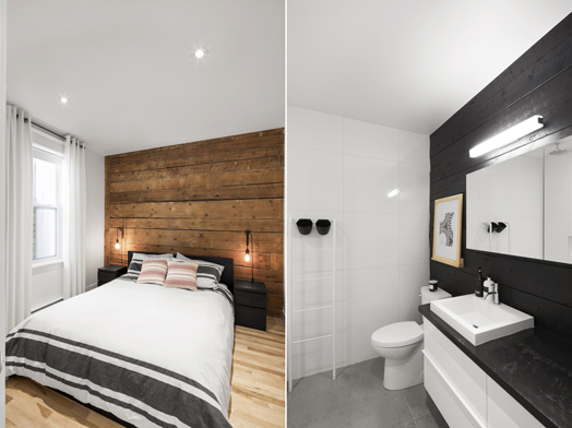 bedroom and bathroom