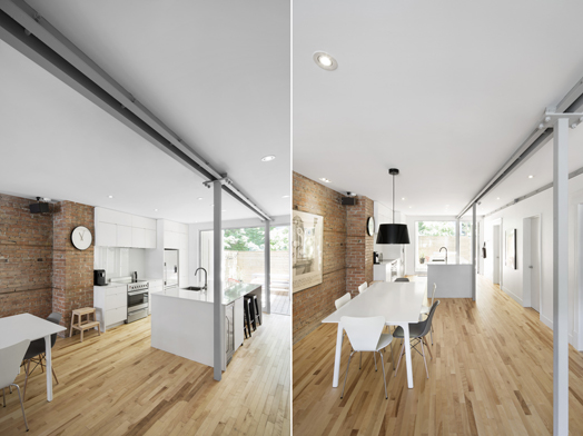 dining area and kitchen in open plan layout